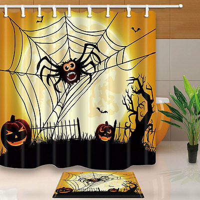 Halloween Spider Web Pumpkin monster Waterproof Fabric Shower Curtain & 12 Hooks