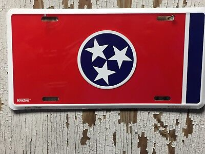 """State Of Tennessee Flag License Plate Metal Sign 6"""" X 12""""  Made In The Usa"""