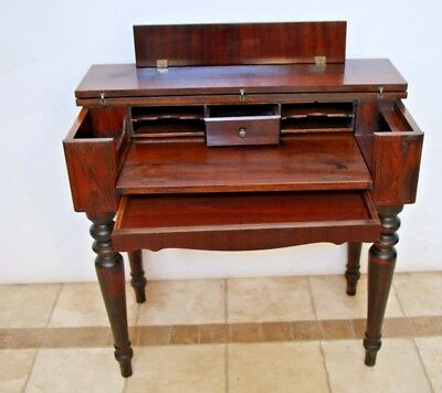 Gorgeous Solid MAHOGANY Spinet Library Desk hidden bottom drawer turned legs