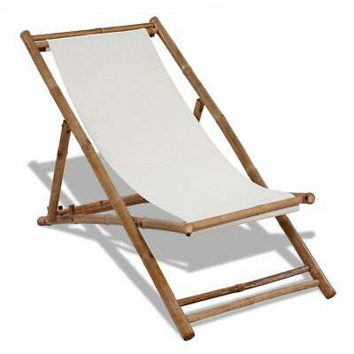 New Deck Chair Bamboo and Canvas 4 Height Settings 30% Cotton 70% Polyester