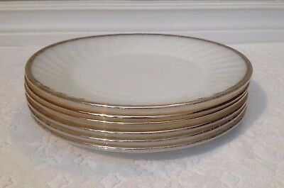 Vintage A-H Fire-King 1950s; SIX GOLD-Edge White Swirl; 9-IN DINNER PLATES