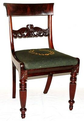 "Chair, dining, Neoclassical Regency, reeded, acanthus, mahogany,34"" ,c1820"