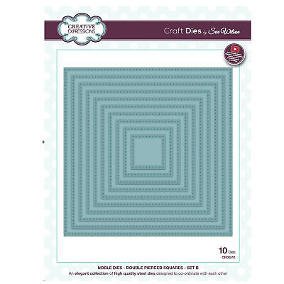 Craft Dies CED5510 sue wilson Noble Kollektion - Doppel durchbohrt Squares Set B