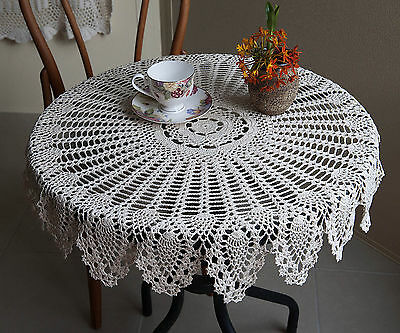 Cotton Pineapple Lace Hand Crochet Doily Crocheted Tablecloth Round 80CM Beige