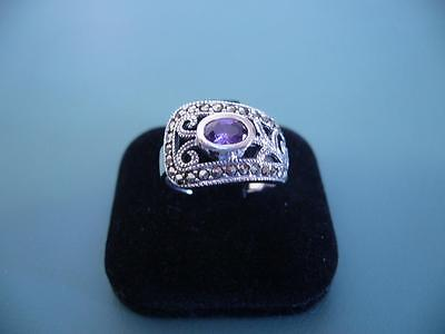 Sterling Silver 925 Created Amethyst & Marcasite Wrap Style Gem Ring 10 T.5 - 5G
