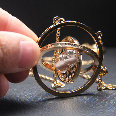 Fashion Hermione Granger Rotating Time Turner Necklace Gold Hourglass