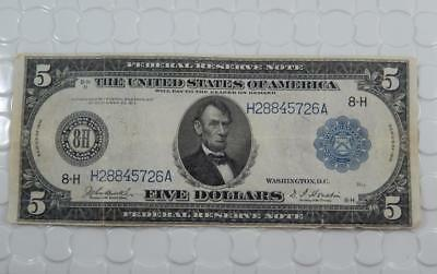 Series 1914 $5 Five Dollar Federal Reserve Note H St. Louis FRN Large Bill P0065