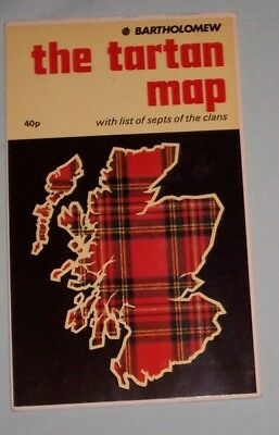 The Tartan Map Scotland. Early Bartholomew with list of Septs of the Clans