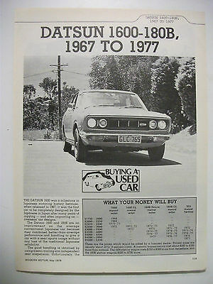 Datsun 1600 & 180B 1967 To 1977 Secondhand Car Buying Guide
