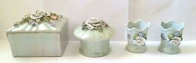 Old 4 pc German Lustreware w Applied Flowers Dresser Vanity Set Made in Germany