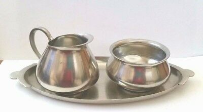 Vintage Daalderop Tiel Pewter Cream, Sugar and Tray - Made in Holland