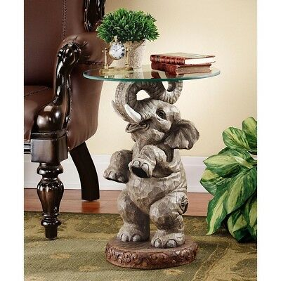 Elephant End Table Round Glass Top Exotic African Sculpture Statue Accent Stone