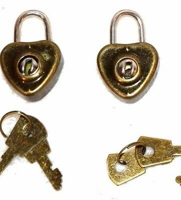 (2 Pack) Lot of Retro Heart Shaped Mini Padlocks with a Pair of Keys with Each