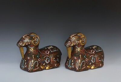 A Pair Of Antique Chinese Cloissone Enamel Ram Form Censers