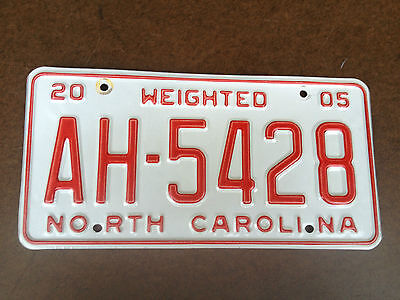 2005 North Carolina WEIGHTED License Plate - AH 5428