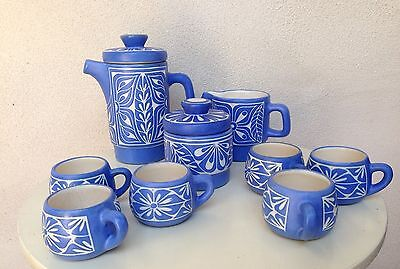 Mid Century Pablo Zabal Of Chile Expresso Set Pottety Blue White Cups Pitchers