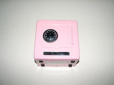 """Light Pink Metal Tin Frontier Safe Coin Bank Unused w Combination 5.5"""" Tall"""
