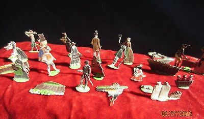 21 German Lead Flat Metal Figures Antique