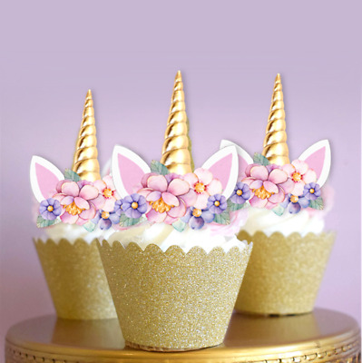 12 Unicorn Gold Horn & Pink Flowers Cupcake Cake Toppers Fairy 1st Birthday