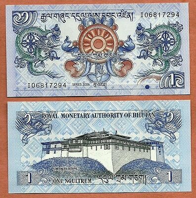 Bhutan 2006 GEM UNC 1 Ngultrum Banknote Paper Money Bill P-27a
