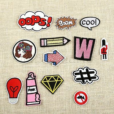 13Pcs/Lot Pink Girls Clothes Embroidered Iron on Patches DIY Sewing Appliques