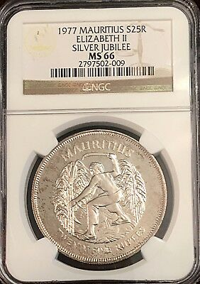 Mauritius 1977 Silver $25 Rupees Elizabeth II Silver Jubilee NGC MS 66 28.4g