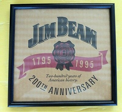 SMALL JIM BEAM FRAMED PRINT 200th ANNIVERSARY 1795-1995