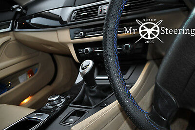 For Nissan Dualis 06-12 Perforated Leather Steering Wheel Cover R Blue Double St