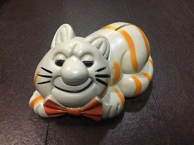Vintage Cat Coin Bank - Resembles Garfield - Orange Stripes, Bow tie - 1980s?