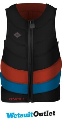 2017 O'Neill Gooru Tech Front Zip Comp Impact Vest BLACK / RED / BLUE 4916EU