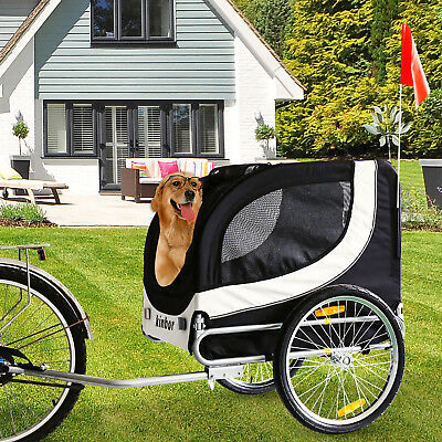 Folding Black Pet Carrier Bicycle Trailer Dog Cat Bike Hitch Tail Wagon Cargo