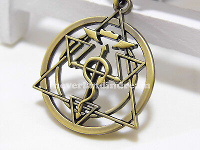 Fullmetal Alchemist Ouroboros snake sign Circle of power alloy metal necklace