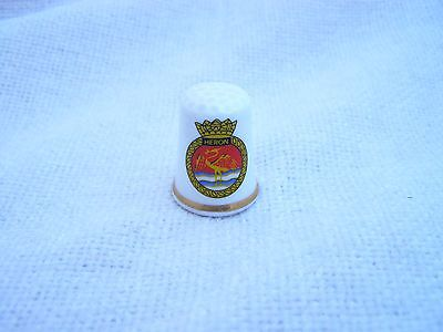 HMS HERON CREST SHIELD FINE BONE CHINA THIMBLE by DAVID MICHAEL