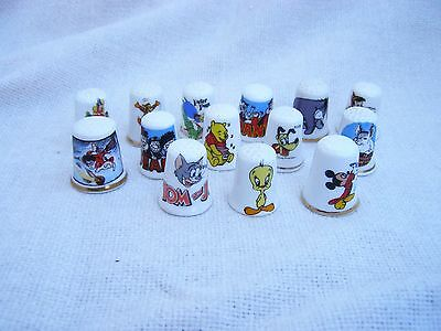JOB LOT CHINA THIMBLES DISNEY CARTOON FIGURES HARRY POTTER BEANO TOM JERRY etc..