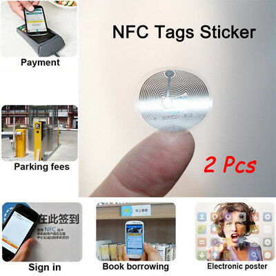 2 Pcs Smart NFC Tags Stickers 22mm NTAG203 Wet Inlay For All NFC Enabled Phones
