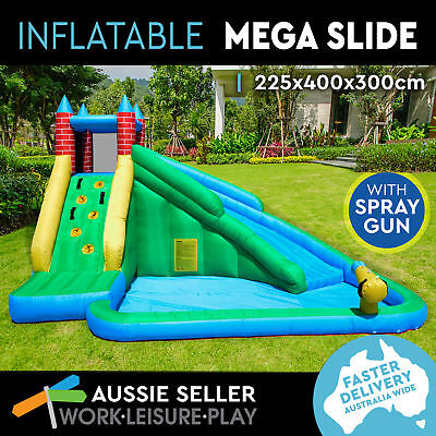 Inflatable Water Slide Jumping Castle Bouncer & Splash Kids w/ Pool & Spray Gun