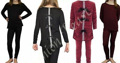 New Kids Childrens Girls Pyjama Diamante Bow Back Lounge Wear Set Top Tracksuit