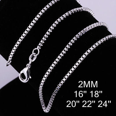 "New Box Silver Chain Necklace 2mm 16"" 18"" 20"" 22"" 24"" Wholesale Job Lots"