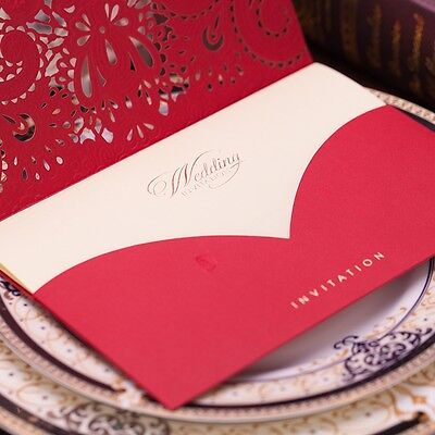 50x Rose Hollow Wedding Invitation Card Laser Cut Floral with Envelopes Red Gift
