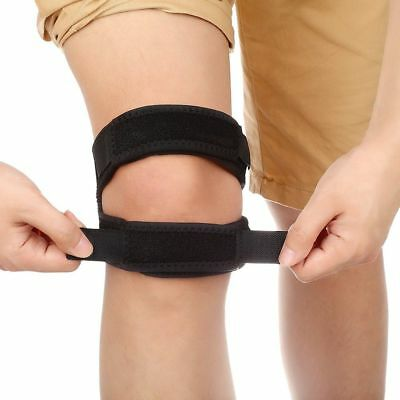 Black Adjustable Patella Knee Brace Support Strap Running Pain Relief Band
