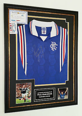 ** Rare Paul Gascoigne of Glasgow Rangers Signed Shirt Autograph Display **
