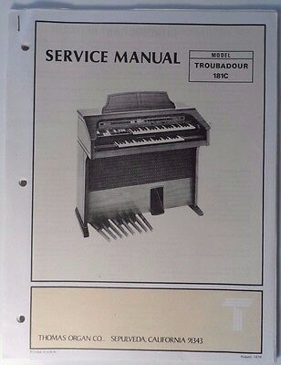 Original Thomas Organ Service Manual Troubadour 181C