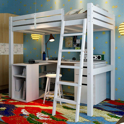 Kids Bed High Sleeper Ladder Children Room Wood Cabin Loft 3FT Single Furniture