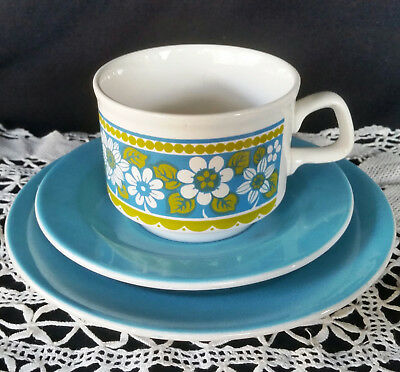 Staffordshire Potteries TRIO - Vintage Ceramic Blue FLoral TRIO England