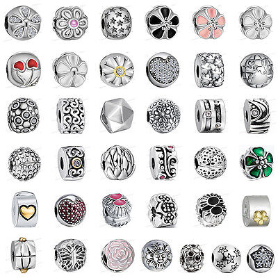 European 925 Sterling Clip on Spacer Silver Charms Bead for Bracelet Chain AU2