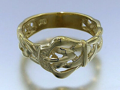 R035-> LOVELY Genuine 9ct SOLID Yellow Gold Braided BUCKLE Ring size M