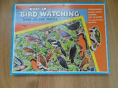 Vintage VICTORY Bird Watching WOODEN Jigsaw puzzle with bird-shaped wood pieces
