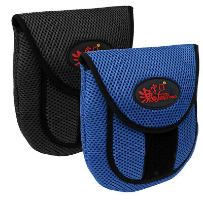 2Pcs Mesh Cloth Fishing Reel Bag Protective Cover Pouch Holder Black & Blue