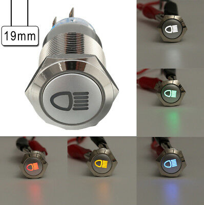12V 5 Pin LED Push Button Metal latching Switch for Car Fog lights ON/OFF 19mm