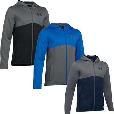 Under Armour Boys Armour Fleece Full Zip Warm Up Running Breathable Hoodie